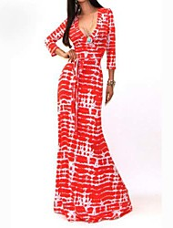 Women's Party/Cocktail Sexy A Line Dress,Print Deep V Maxi Long Sleeve Red Cotton / Polyester / Spandex Fall