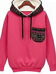 Women's Solid Color Red / White Sweats & Hoodies , Casual / Work Hoodie Long Sleeve HDK