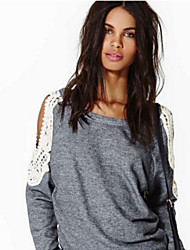 Kaley Women's Lace Gray T-Shirts , Casual Round Long Sleeve