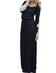 Women's Party/Cocktail Sexy Shift Dress,Patchwork Round Neck Maxi Long Sleeve Black Fall