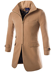 Casual Male Fashion Wool Quality Wool Coat Fashion Vintage All-match Zipper Cardigan