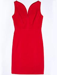 Robe Aux femmes Fendu Au dessus du genou Sans Manches Col en V Laine / Polyester
