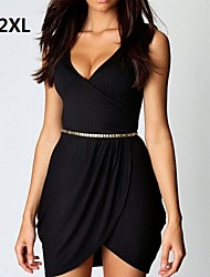 Women's Black/Wine Sexy Dress, V Neck
