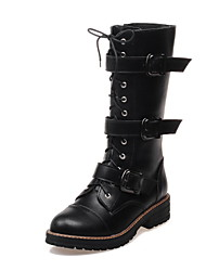 Women's Shoes PU Low Heel Fashion Boots / Round Toe Boots Dress / Casual Black / White