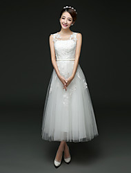 A-line Wedding Dress Tea-length Jewel Tulle with Lace