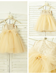 A-line Knee-length Flower Girl Dress - Tulle / Sequined Sleeveless Spaghetti Straps with