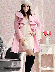 Women's Solid Pink / Red Coat , Casual Long Sleeve Fur