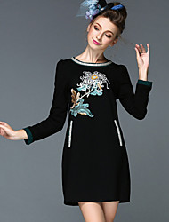 Bead Embroidery Flower Autumn Winter Women's Clothing Magnificent Vintage Long Sleeve Party/Casual/Work Dress Black/Red