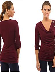 Sexy / Informell / Business V-Ausschnitt - Langarm - FRAUEN - T-Shirts ( Baumwolle )