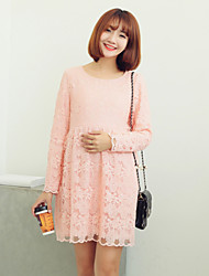 Maternity Slim Lace Graceful Long Sleeve Chiffon Dress