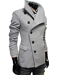 Men's Solid Casual / Work / Formal / Sport / Plus Sizes Coat,Cotton Blend Long Sleeve-Black / Red / Gray