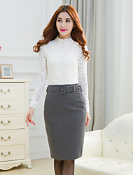 Women's Vintage/Casual Knee-length Skirts , Fur Micro-elastic