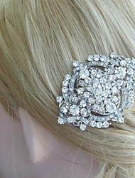 Wedding Headpiece Wedding Hair Comb Silver-tone Rhinestone Crystal Flower Hair Comb Bridal Hair Comb Bridal Jewelry