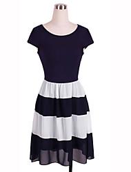 Women's Chiffon Stripe Long Dress