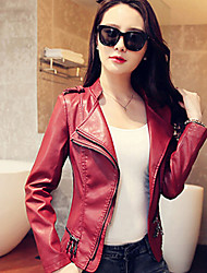 Women PU Short  Slim Ms. motorcycle jacket Outerwear/Top
