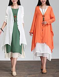 Large size   Women's Color Block Orange Coats & Jackets , Casual Round Long Sleeve
