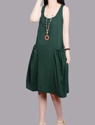 Large size   Women's Character Orange Dresses , Casual Round Sleeveless