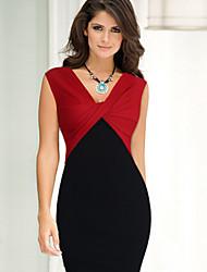 여성의 스플리트/주름 잡힌 드레스 V 넥 민소매 무릎길이 쉬폰/폴리에스테르