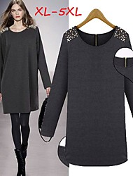 Women's Solid Black/Gray Plus Size  Dresses , Casual Round Long Sleeve