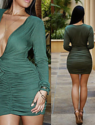 CEN     Women's Solid Color Green Dresses , Sexy / Bodycon / Casual / Party V-Neck Long Sleeve