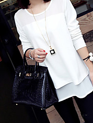 Maternity Round Neck Blouse , Chiffon Long Sleeve