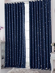 Two Panels European Contracted Fashion High-Grade Star Kids Room Window Shade Curtains Drapes