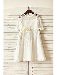 A-line Knee-length Flower Girl Dress - Lace Half Sleeve Jewel with