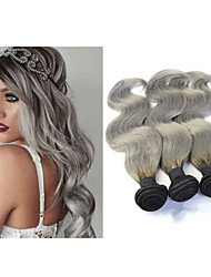 """3pcs / lot 10 """"-34"""" Silber geschweiften Haarverlängerungen brasilianische reine Haarkörperwelle ombre graue Haare weben"""