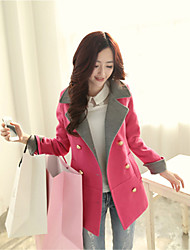 Women's Elegant Solid/Patchwork Red/Green Coat , Casual Long Sleeve Fur/Wool Blends Pocket/Button Overcoat