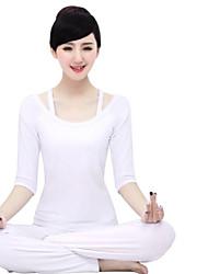Outros Mulheres Ioga Ternos Meia Manga Respirável / Materiais Leves Branco / Preto Ioga / Fitness S / M / L / XL / XXL