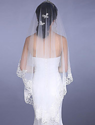 White/Ivory Bridal Wedding Veil One-tier Cathedral Veils Lace Applique Edge 3 Meters