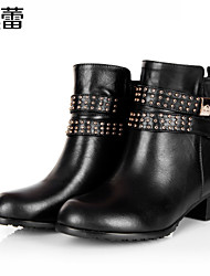 Women's Shoes Leather Chunky Heel Fashion Boots/Combat Boots Boots Office & Career/Party & Evening/Casual Black