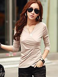 T-Shirt Da donna Bottone Rotonda Manica lunga Cotone