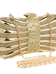 Women Polyester / Metal Minaudiere Clutch / Evening Bag - Gold / Silver