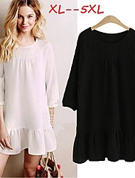 Women's White/Black Plus Size Dresses , Casual/Cute Round ¾ Sleeve