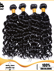 4pcs Brazilian Deep Curl Hair Bundles Weaves Jet Black 100% Unprocessed Brazilian Human Hair Weft