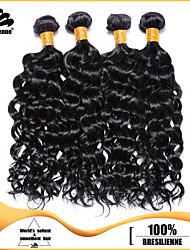 4pcs brasiliani profondi fasci di arricciare i capelli neri tesse la trama dei capelli jet 100% non trattato brasiliana umana