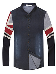 Men's  Slim Fit Color Block Long Sleeve Jean Shirt