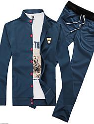 Sets Activewear Pour des hommes Manches longues Décontracté Couleur plaine Coton