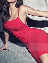 Clubwear Dresses Women's Performance Polyester/Elastic Silk-like Satin 1 Piece Black/Red/White/Burgundy