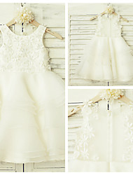 A-line Knee-length Flower Girl Dress - Lace / Organza Sleeveless