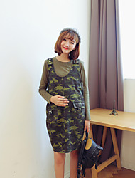 Maternity Camouflage Clothing Sets (Suspender Dress & Long Sleeve T-shirt)