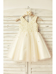 A-Line Knee Length Flower Girl Dress - Satin Tulle Sleeveless V-neck with Beading
