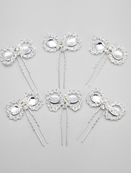 Women's / Flower Girl's Rhinestone / Crystal / Alloy Headpiece - Wedding / Special Occasion Hair Pin 6 Pieces