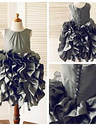 A-line Knee-length Flower Girl Dress - Taffeta Sleeveless Scoop with