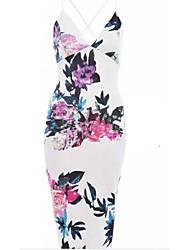 Women's Print White Dress , Vintage / Plus Sizes Strap Sleeveless