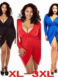 Plus Size (XL-3XL)Women's Plus Size Dresses , Vintage / Sexy / Beach / Casual / Cute / Party Round Long Sleeve VICONE