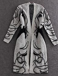 babu Women's Print Gray Coats & Jackets , Casual Stand Long Sleeve
