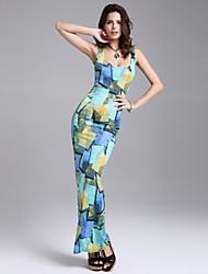 여성의 꽃패턴/뒷면이 없는 스타일 드레스 스트랩/U 넥 민소매 맥시 폴리에스테르/면혼방