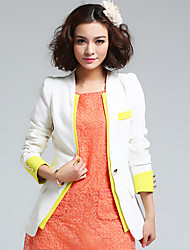 Suit Women's Color Block White / Yellow Suits & Blazers , Vintage / Sexy / Casual / Work V-Neck Long Sleeve